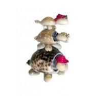 3 tortues en coquillages avec tête qui bouge