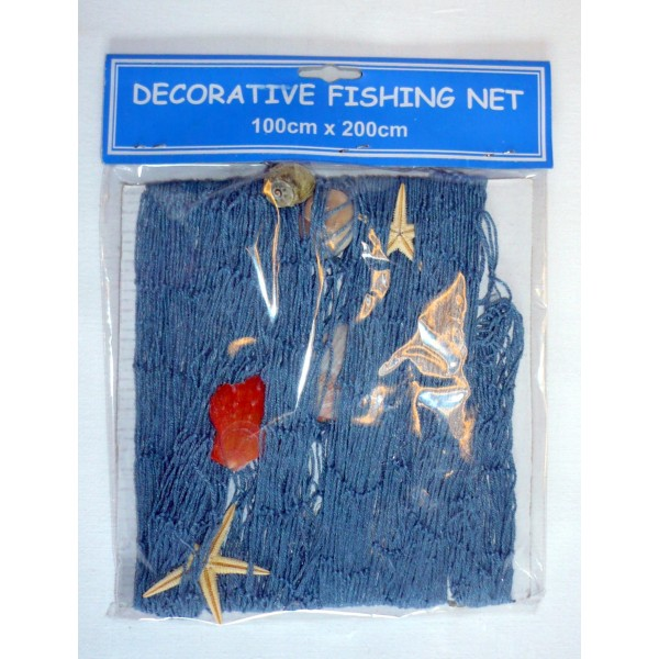 Filet de p che d coratif bleu coquillages 100 cm x 150 for Filet de peche decoration