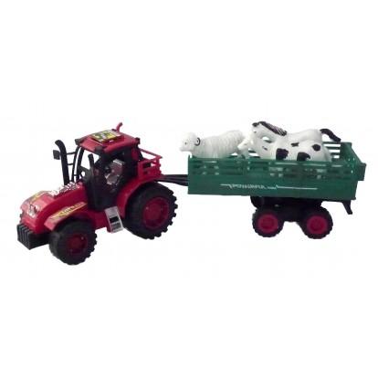 Tracteur + remorque et animaux 32 cm rouge.