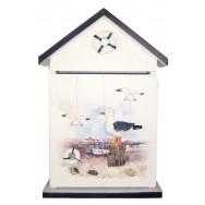 Boîte à clefs en forme de cabine de plage paysage marin