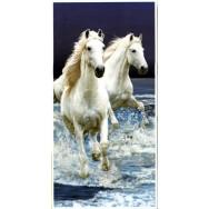 Serviette de plage 2 chevaux blancs, linge de toilette