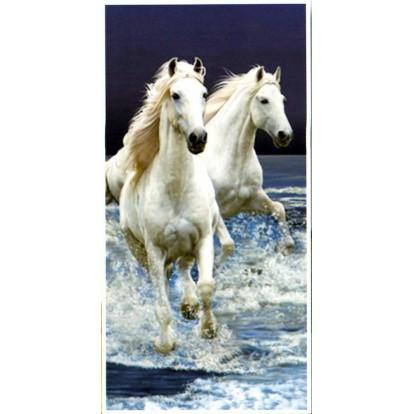 Serviette de plage 2 chevaux blancs