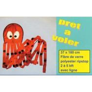 Cerf-volant monofil pieuvre rouge 180 cm