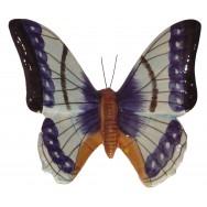 Papillon céramique 23 cm bleu et noir, décoration murale