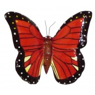 Papillon céramique 23 cm rouge et noir, déco de jardin