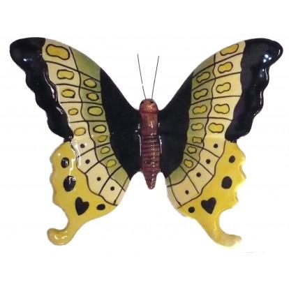 Papillon céramique 23 cm jaune, vert et noir décoration de jardin.