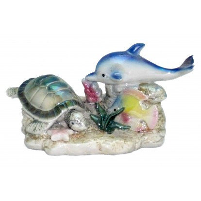 Statuette tortue, dauphin et poisson