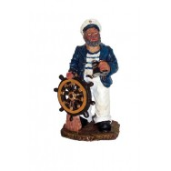 Statuette marin capitaine 11 cm avec barre à roue