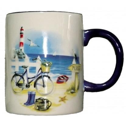 Tasse mug en relief décor marin : la plage