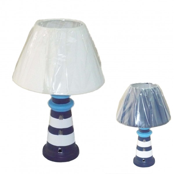 lampe phare c ramique 31 cm d coration marine et. Black Bedroom Furniture Sets. Home Design Ideas