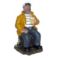 Statue marin assis sur un tonneau 10 cm