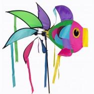 Moulin à vent girouette poisson multicolore