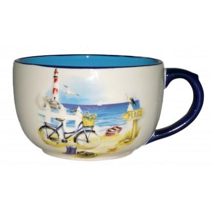 Tasse Jumbo paysage marin en relief : la plage et le vélo