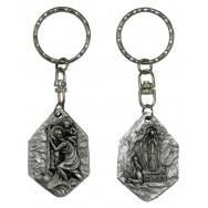Porte clefs Saint Christophe et Notre Dame de Lourdes