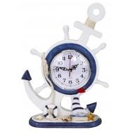 Horloge en bois ancre et roue - Déco bord de mer