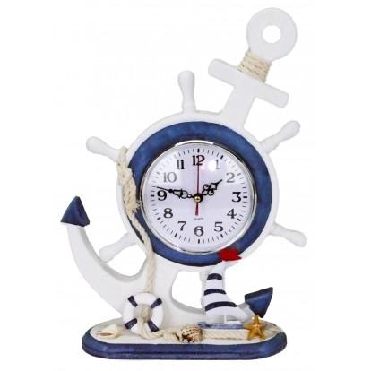Horloge en bois ancre de bateau et barre à roue - voilier.