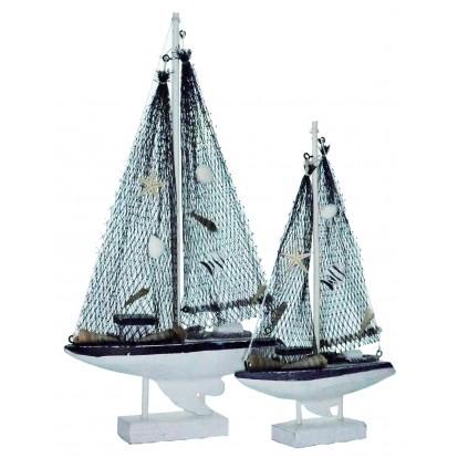 Voilier en bois cérusé 28 cm et 38 cm - Décoration marine.