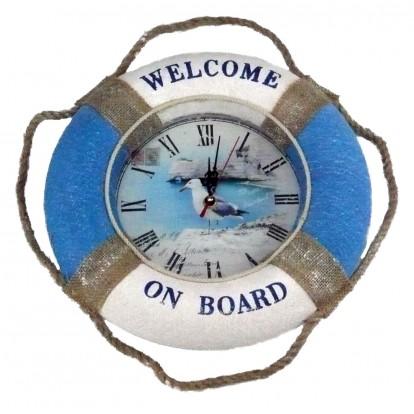 """Pendule bouée """"Welcome on board"""" avec la mouette, idée déco et cadeau."""