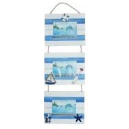 Triptyque, cadre photo style marin en bois bleu et blanc