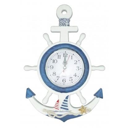 Pendule en bois ancre et roue à accrocher, bateau voiliers.