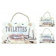 Plaque de porte paysage marin, Chambre, Toilettes, Salle de bain