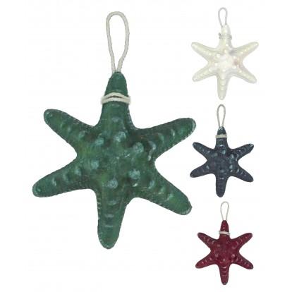 Étoile de mer en résine 13 cm, décoration filet de pêche