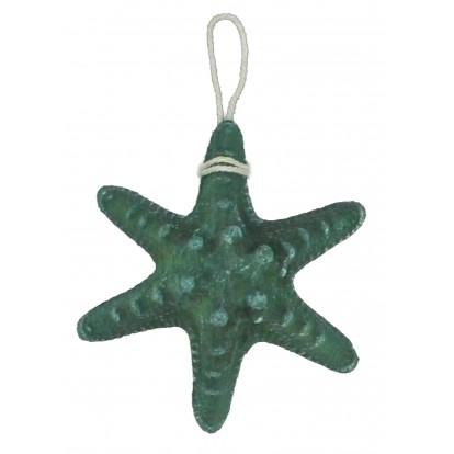 Étoile de mer en résine 13 cm verte, décoration maritime pas cher.