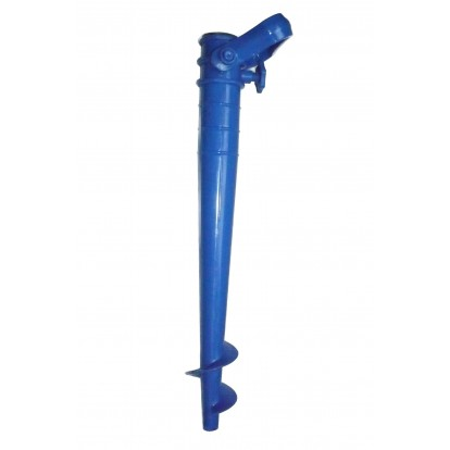Support vis pour parasol bleue, accessoire de plage.