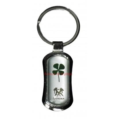 Porte clefs avec trèfle à 4 feuilles signes astrologiques - zodiaque - Gémeaux.