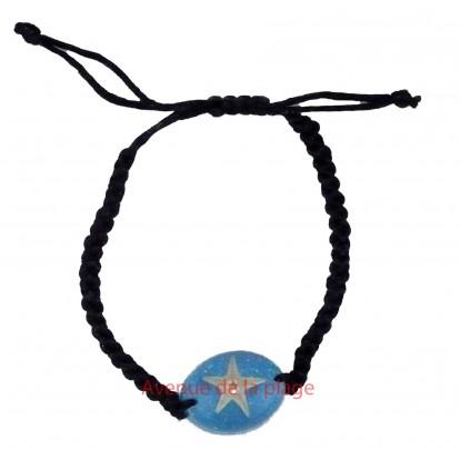 Bracelet avec véritable étoile de mer, bleu.