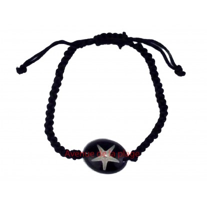 Bracelet avec véritable étoile de mer, noir, seastar.