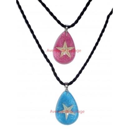 Pendentif, collier avec véritable étoile de mer, idée cadeau pas cher.