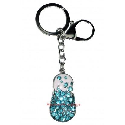 Porte clefs strass : Tong bleue - Bijou de sac fashion.