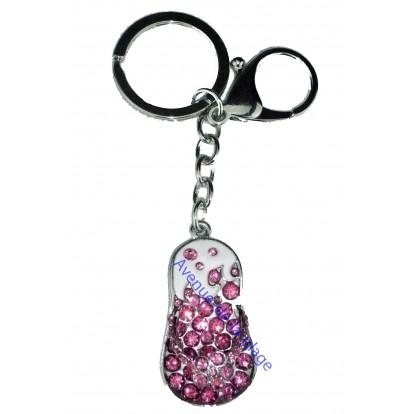 Porte clefs strass : Tong rose - Bijou de sac fashion