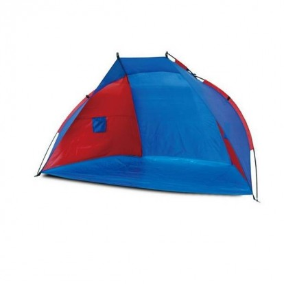 Tente de plage anti-UV 50+ 240 x 120 cm rouge et bleue.