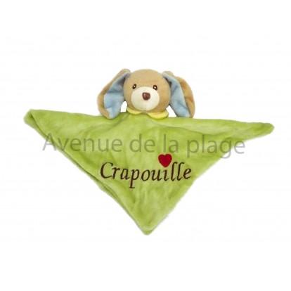 Doudou Crapouille en velours, le petit chien vert.