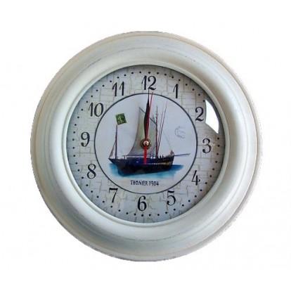 """Pendule, horloge murale, décor marin façon carte postale ancienne """"le thonier""""."""