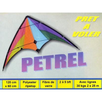 Cerf-volant acrobatique Petrel 120 cm, toile de spy et armature en fibre de verre. Idéal débutant, prêt à voler.