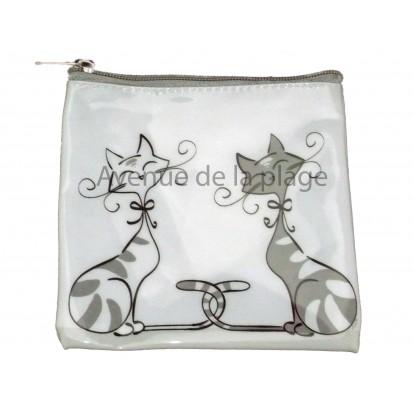 """Porte monnaie couple de chats, """"Chacha"""", idée cadeau pas cher."""