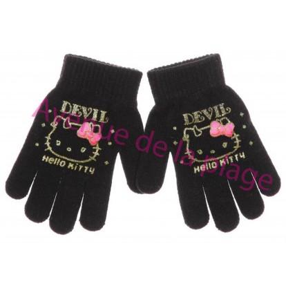 Gants Hello Kitty à paillettes Démon, couleur noir.