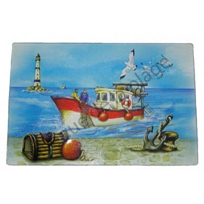Planche à découper multi-usages : le chalutier en mer