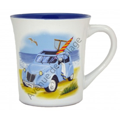 Mug - Tasse à café style marin : 2 Cv à la plage