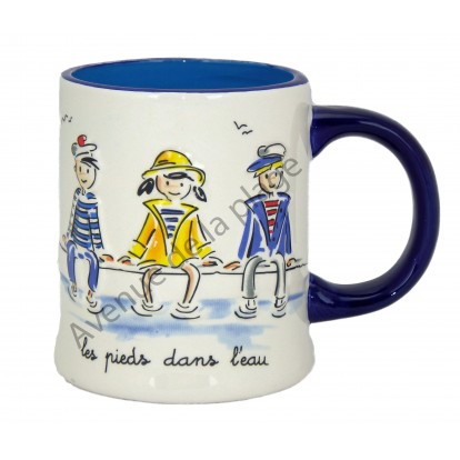 Tasse mug en relief décor marin : 3 petits marins