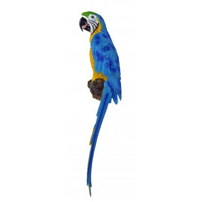 Perroquet bleu et jaune à accrocher 70 cm, déco de jardin.