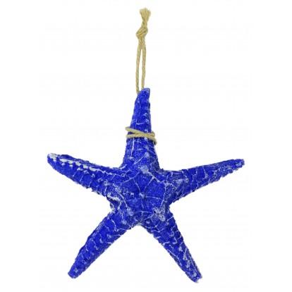 Étoile de mer 5 branches en résine 13 cm bleue.