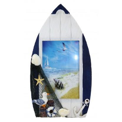Cadre photo en forme de barque à poser avec filet de pêche bleu, modèle B.