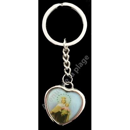 Porte clefs chaînette religieux en forme de coeur - A