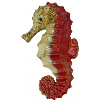 Hippocampe en céramique 27 cm, rouge, décoration murale.