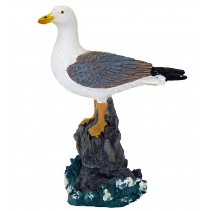 Statuette mouette posée sur rocher 12 cm modèle A.