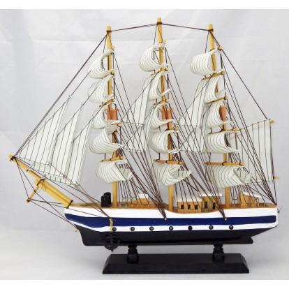 Maquette voilier 3 mâts 50 cm coque blanche, bleue, noire, modèle B.